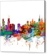 Chicago And New York City Skylines Mashup Canvas Print