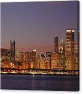 Chicago Skyline At Dusk Panorama Canvas Print