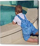 Child In A Denim Suit Sits Canvas Print