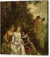Chivalric Scene In A Park Canvas Print