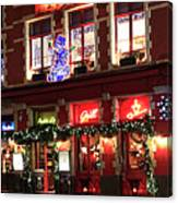 Christmas Decorations On The Buildings, Bruges City Canvas Print