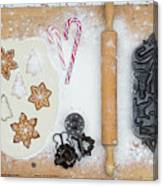 Christmas Interior With Sweets And Vintage Kitchen Tools Canvas Print