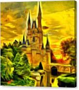 Cinderella Castle - Van Gogh Style Canvas Print