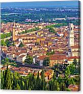 City Of Verona Old Center And Adige River Aerial Panoramic View Canvas Print