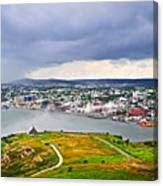 Cityscape Of Saint John's From Signal Hill Canvas Print