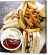 Classic Club Sandwich With Fries On Wooden Board Canvas Print