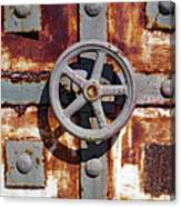 Close Up View Of An Unusual Door That Is Part Of An Old Rundown Building In Katakolon Greece Canvas Print