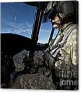 Co-pilot Flying A Ch-47 Chinook Canvas Print
