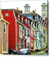 Colorful Houses In St. Johns In Newfoundland Canvas Print