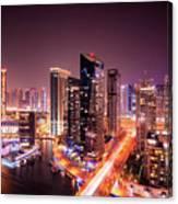 Colorful Night Dubai Marina Skyline, Dubai, United Arab Emirates Canvas Print