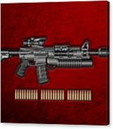 Colt  M 4 A 1  S O P M O D Carbine With 5.56 N A T O Rounds On Red Velvet  Canvas Print