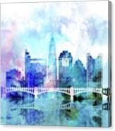 Columbus  Watercolor Skyline Canvas Print