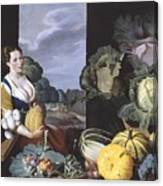 Cookmaid With Still Life Of Vegetables And Fruit Canvas Print