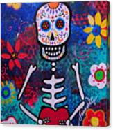 Corazon Day Of The Dead Canvas Print