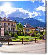 Cortina D' Ampezzo Street And Alps Peaks Panoramic View Canvas Print