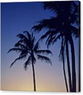 Couple And Sunset Palms Canvas Print