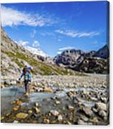 Crossing A River In Patagonia Canvas Print