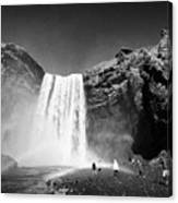 Crowds Of Tourists At Skogafoss Waterfall In Iceland Canvas Print