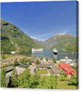 Cruise In Geiranger Fjord Norway Canvas Print