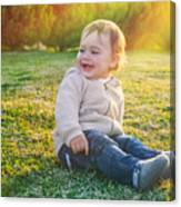 Cute Baby Boy Outdoors Canvas Print