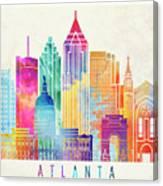 Atlanta Landmarks Watercolor Poster Canvas Print