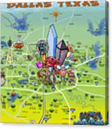 Dallas Texas Cartoon Map Canvas Print