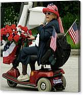 Patriotic Lady On A Scooter Canvas Print