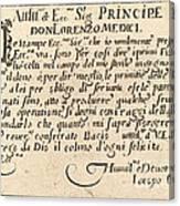 Dedication To Don Lorenzo De' Medici Canvas Print