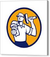 Demolition Worker Hammer Pointing Circle Retro Canvas Print