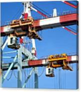 Detail View Of Container Loading Cranes Canvas Print