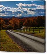 Dirt Road Through Vermont Fall Foliage Canvas Print