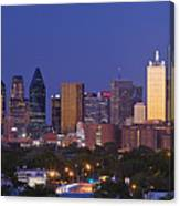 Downtown Dallas Skyline At Dusk Canvas Print