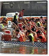 Dragon Boat Races On The Love River In Taiwan Canvas Print