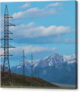 Electric Power Transmission Pylons On Inner Mongolia Grassland At Sunrise  Canvas Print