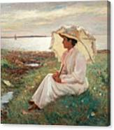 Elegant Lady By The Sea Canvas Print
