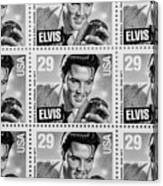 Elvis Commemorative Stamp January 8th 1993 Painted Bw Canvas Print
