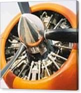 Engine And Propellers Of Aircraft Close Up Canvas Print