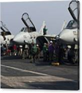 F-14d Tomcats On The Flight Deck Of Uss Canvas Print