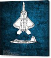 F22 Raptor Blueprint Canvas Print