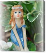 Fairy In Flowerbed Canvas Print