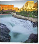 Falls And The Washington Water Power Building Along The Spokane  Canvas Print