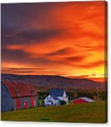 Farm At Sunset In Wentworth Valley Canvas Print