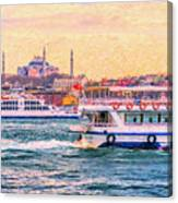Ferry Traffic On The Bosphorus Canvas Print