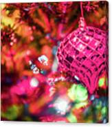 Festive Christmas Tree With Lights And Decorations Canvas Print