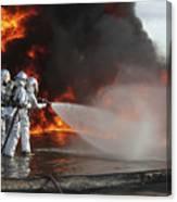 Firefighting Marines Battle A Huge Canvas Print