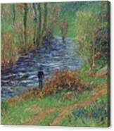 Fisher On The Bank Of The River Canvas Print