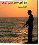 Fisherman And Sunset Canvas Print