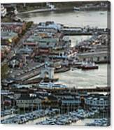 Fisherman's Wharf And Pier 39 Aerial Photo Canvas Print