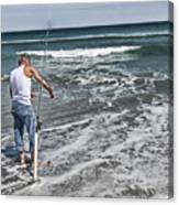 Fishing On The Beach Canvas Print