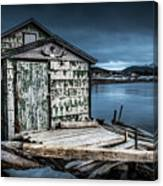 Fishing Shack And Wharf In Norris Point, Newfoundland Canvas Print